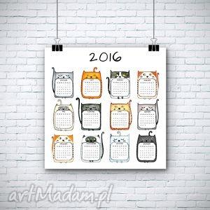 kalendarze kalendarz na 2016 rok, kalendarz, kot, koty dom, oryginalny prezent