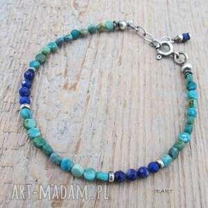 lapis lazuli z turkusem - bransoletka, turkus, lapis, bransoletka