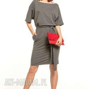 sukienka wiązana z dzianiny bawełnianej, t309, szara, sukienka