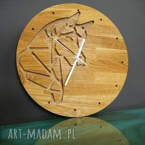 zegar ścienny z drewna dębowego,frez, konik,natura, ścienny, koń, prezent
