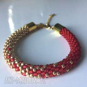 cieniowana, czerwono-złota z koralików toho, koralikowa, bransoletka, prezent