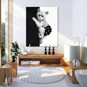 obraz na płótnie - 80x100cm miś czrno białym 02221 wysyłka w 24h, miś