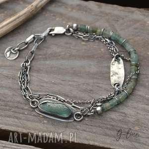 Surowa srebrna bransoletka ze szkłem antycznym grey line project