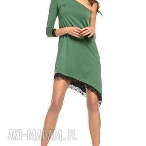 fe1f880eba9a ciekawe sukienki - sukienka z kontrafałdą z przodu t262 czarny