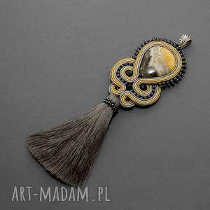 wisiorki wisiorek sutasz z jaspisem, sznurek, grafitowy, długi, chwost, elegancki