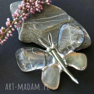 Wisior: Motyl kryształowy z jadeitem, wisiorek-z-kamieni, wisiorek-motyl