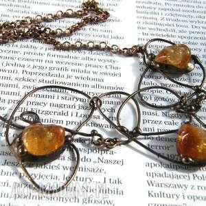 naszyjnik kolia z cytrynem esy - floresy, kamieni, amulet kamień