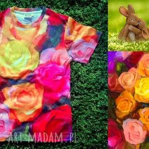 artystyczny t-shirt damski - malowane róże jakość premium, nadruk, róże, artystyczna