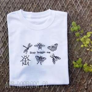 t-shirt stop buggin me - ,koszulka,shirt,haft,haftowana,ćma,motyl,