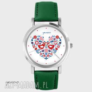 ręczne wykonanie zegarki zegarek - folkowe ptaszki skórzany, zielony