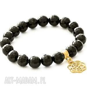 Onyx with rose pendant. - ,onyks,róża,