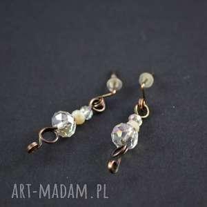 shine - kolczyki minimalistyczne z kryształkami, kolczyki-kryształki