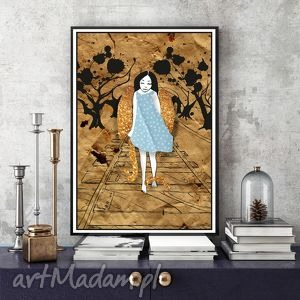 Spacer Anioła... a4, plakat, ilustracja, anioł, kolaż, 20x30