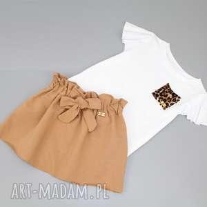 zestaw spodniczka i bluzka, falbanki, kokarda, letnia, panterka, dladziewczynki