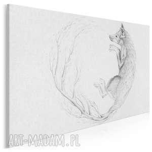 obraz na płótnie - lis szkic natura 120x80 cm 53401, lis, gałąź, liście