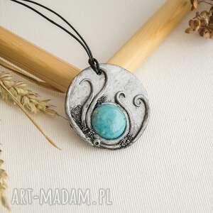 sirius92 wisior inspirowany naturą z błękitną ceramiką, ceramika, wisior, polymerclay