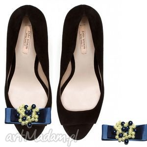 blue pearls - klipsy do butów, perły, kokardy, klipsy, spinki, ozdoby