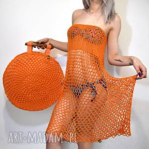 okrągła torba wiosenno-letnia pomarańczowa, torba, torebka, ażur, ażurowa