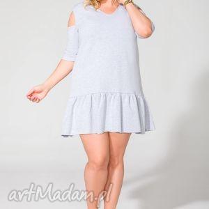 sukienka t113 jasnoszary size plus - sukienka, dresowa, falbanka, mini