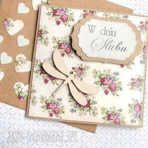 kartka ślubna ważka retro, ślub, ślubna, ważka