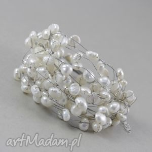 perły w oplocie - bransoletka, perły, naturalne, srebro, linki, oplocie