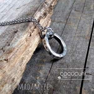 naszyjnik kółko karmy dłuższy - grube, masywne, srebro, geometryczny