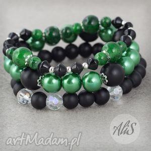 Czarno zielona - ,czarny,zielony,matowy,zestaw,fasetowane,