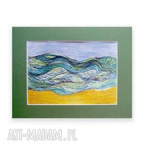 morski rysunek, morze obraz, fale grafika
