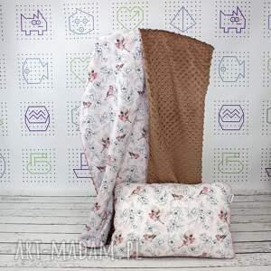 dla dziecka zestaw kocyk i płaska poduszka ptaki w kwiatach, kocyk, minky