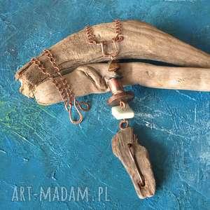 wisior/naszyjnik drewno, miedz oksydowana i kamienie /3/, wisior, naszyjnik