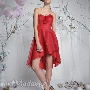 rose - asymetryczna sukienka koktajlowa, jedwab, gorsetowa, aplikacje