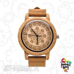 drewniany zegarek folk - folklor, wycinanka, modny, ludowy, góralski, prezent