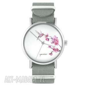 hand made zegarki zegarek - koliber szary, nylonowy