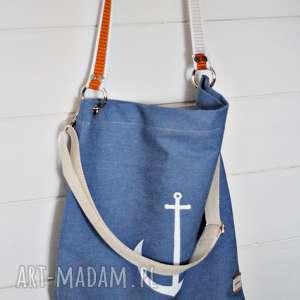Dżinsowa torba z kotwicą, torba, torebka, damska, marynistyczna, plażowa,