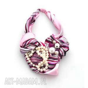 purple rain naszyjnik handmade, naszyjnik, kolia, róż, purpura, fioletowy, perły