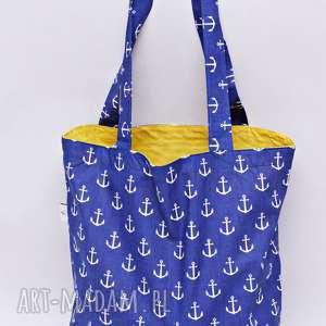 Torba na zakupy Shopperka czerwone kotwice żółta podszewka, torba, zakupy, shopperka