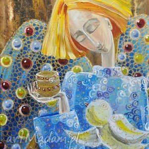 pod choinkę prezent, anioł1, marina, czajkowska, obraz, wydruk, aniol