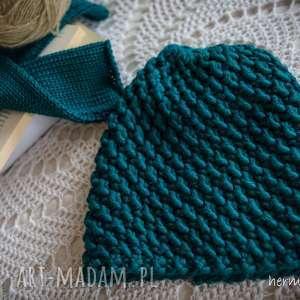 handmade czapki czapka turkusowa