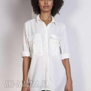 Koszula oversize, K108 ecru, koszula, kieszenie, casual, luźna, modna