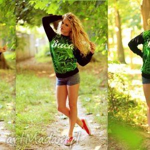 fajna bluza z modnym nadrukiem 3d marihuana napisem, bluza, sportowa, dresowa