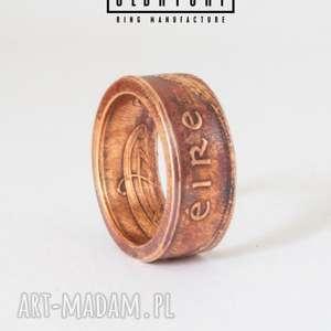 eire - celtycki pierscionek z irlandii - boho, pierścionek, zaręczynowy, moneta