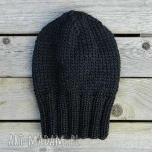 100 wool unisex klasyk zimowa wełniana czapka czarna
