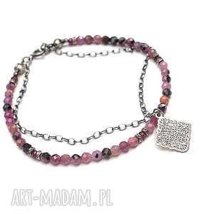 Ruby - bransoletka , srebro, oksydowane, rubin, ażur, kamienie-naturalne,