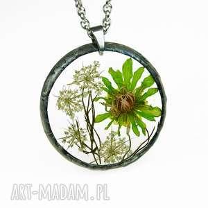 naszyjniki naszyjnik z suszonymi kwiatami, herbarium jewelry, kwiaty w żywicy z1204
