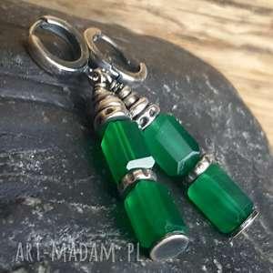 kolczyki ze srebra i zielonych onyksów, srebro, wiszące