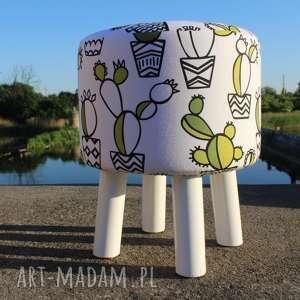 Pufa Kaktus - Białe Nogi 36 cm, puf, taboret, hocker, vintage, stołek,