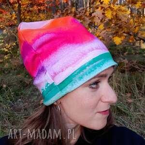 Czapka akwarela czapki katarzyna staryk tie dye, farbowany