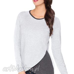 bluzki bluzka h_8 z kopertowym przodem - rawear, dresowa, wygodna, surowa, kopertowa