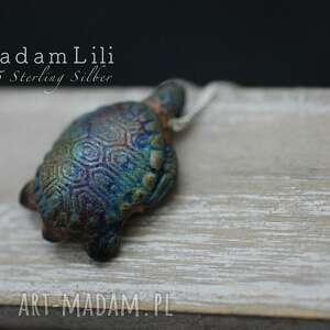 925 żółw łańcuszek z peruwiańskiej ceramiki, żółw, cermiak, peru, łańcuszek, berlin
