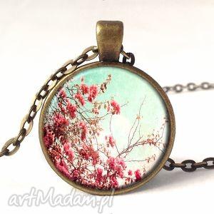 retro kwiaty - medalion z łańcuszkiem - naszyjnik, prezent, vintage